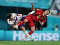 Игрок сборной Бельгии получил двойной перелом глазницы в матче против России